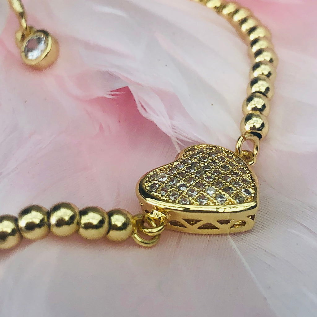 Gold Plated Pavé Crystal Heart Bracelet
