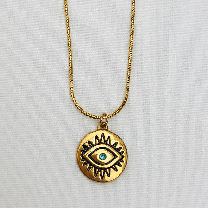 Gold Plated Evil Eye Pendant with Aquamarine Crystal