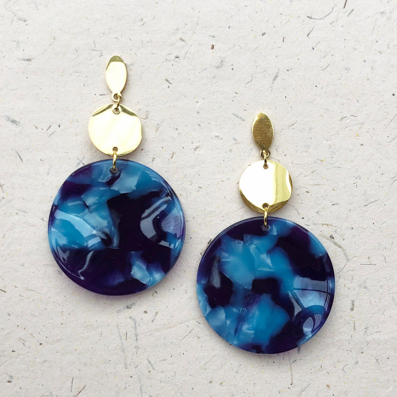 Gold Plated Large Blue Tortoiseshell Drop Earrings
