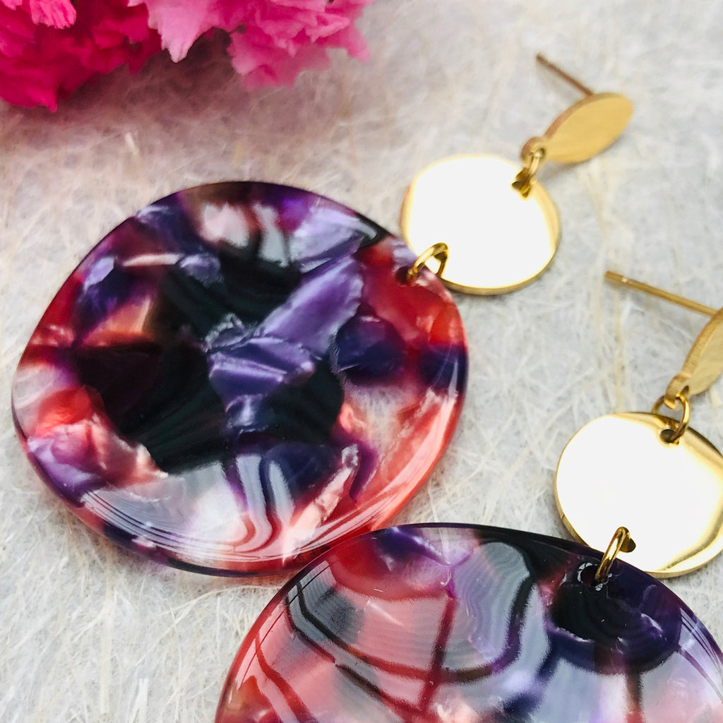 Gold Plated Large Red/Purple/Black Tortoiseshell Drop Earrings