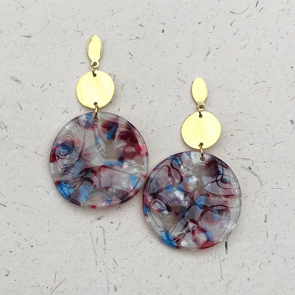 Gold Plated Large White/Red/Blue Tortoiseshell Drop Earrings