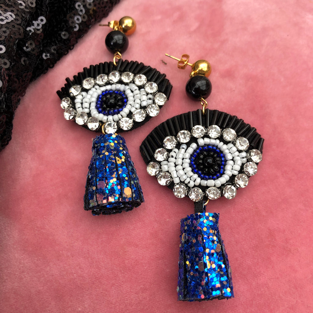Evil Eye Crystal & Beaded Gold Plated Stainless Steel Drop Earrings