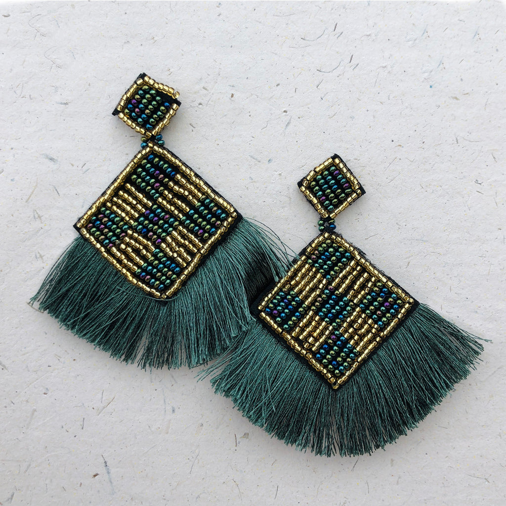 Large Green Beaded Tassel Drop Earrings