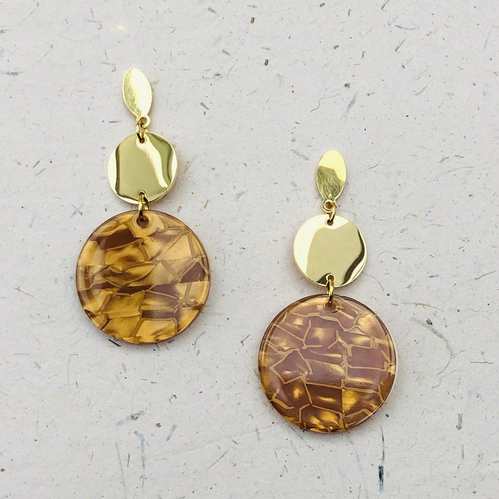 Gold Plated Tortoiseshell Drop Earrings