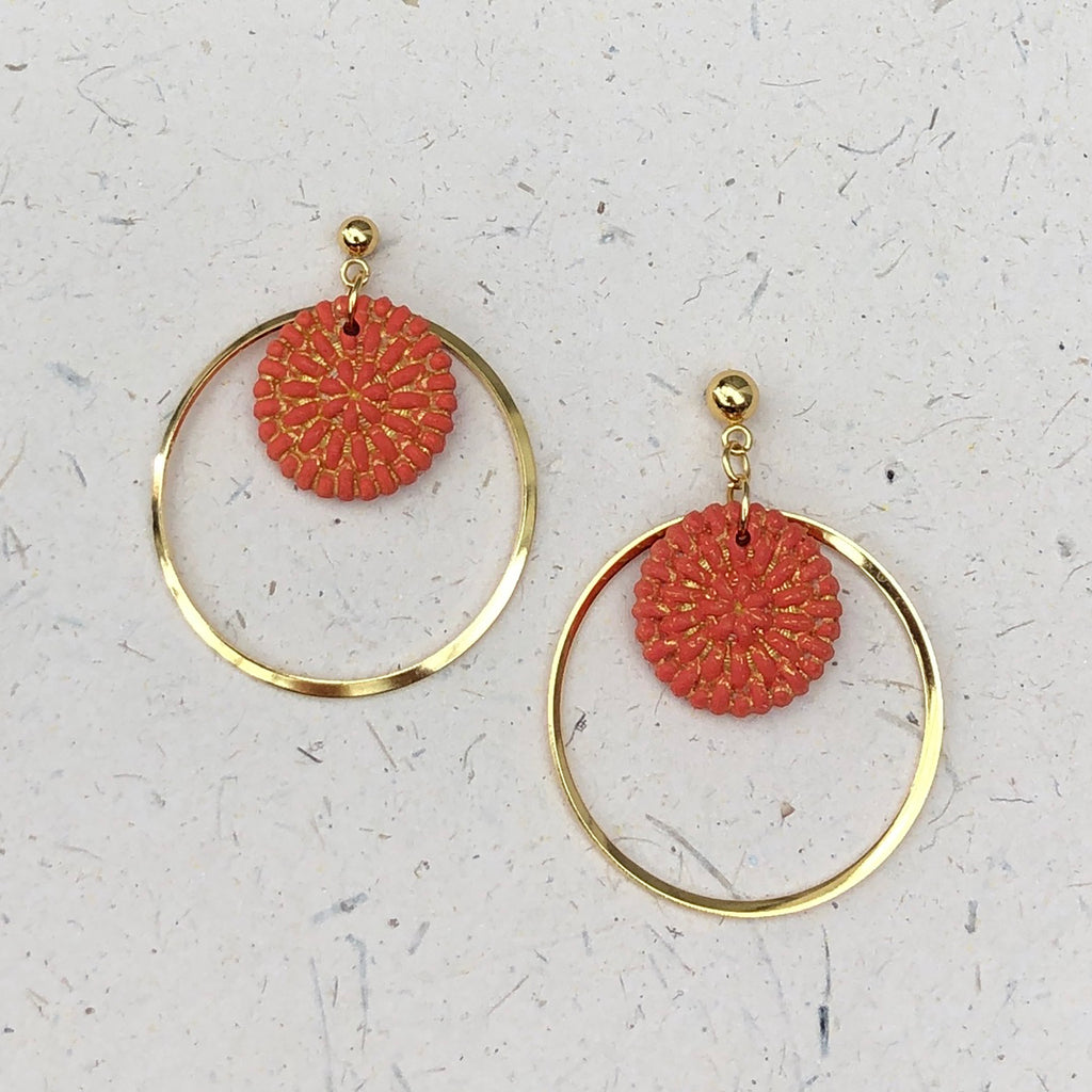 Gold Plated Hoops with Discs