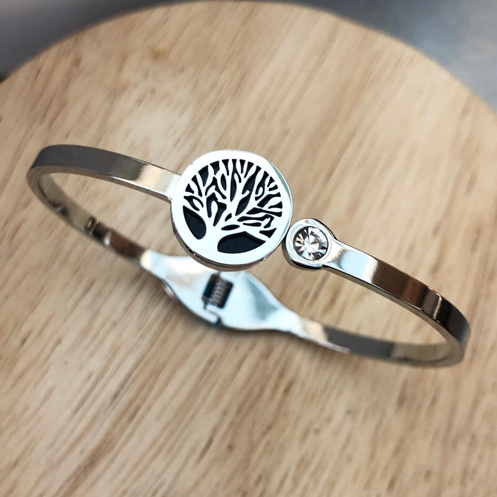 Stainless Steel Bangle with Tree of Life & Cubic Zirconia