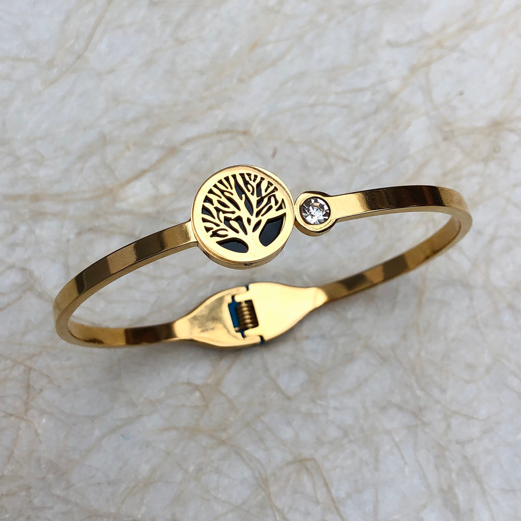 Gold Plated Bangle with Tree of Life & Cubic Zirconia