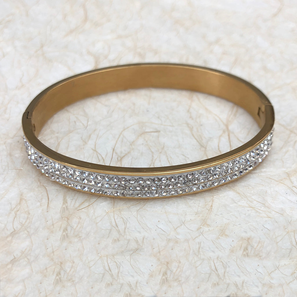 Gold Plated Diamante Bangle
