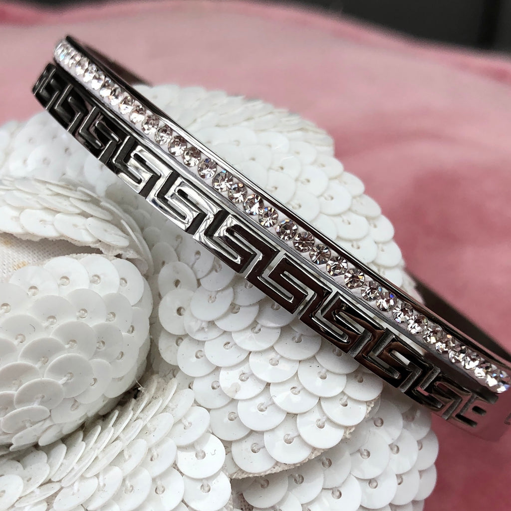 Greek Key Pattern & Diamante Stainless Steel Bangle