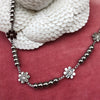 Stainless Steel Daisy & Crystal Beaded Necklace