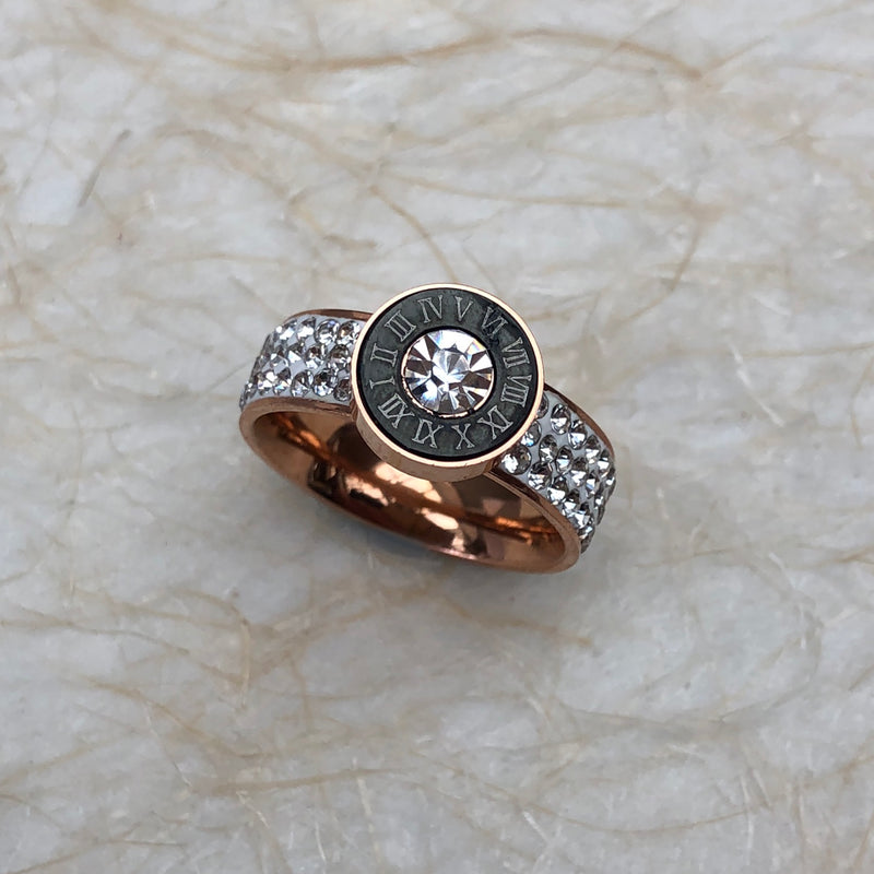Rose Gold Plated Cubic Zirconia Roman Numeral Ring
