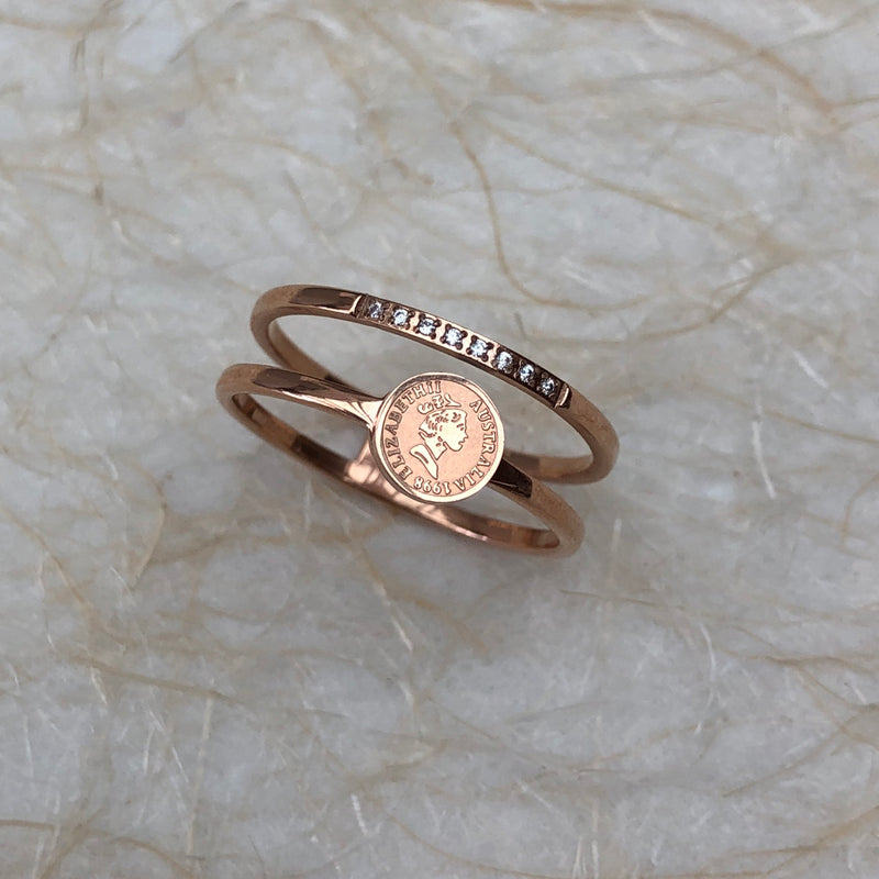 Rose Gold Plated Coin & Crystal Ring