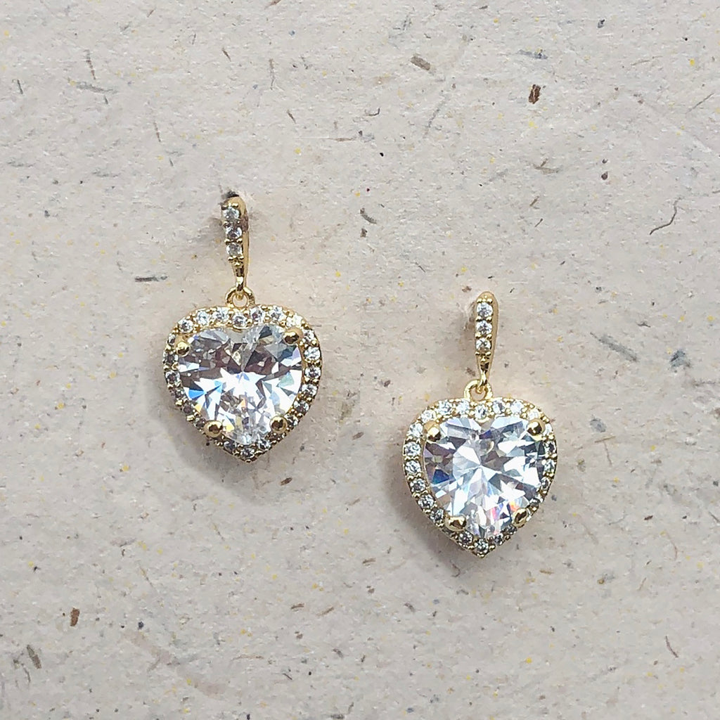 Cubic Zirconia Heart Shaped Gold Plated Drop Earrings