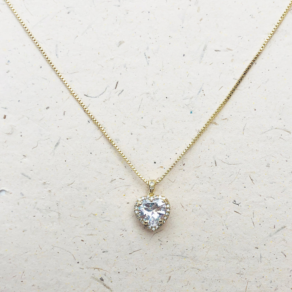 Cubic Zirconia Heart Shaped Gold Plated Pendant