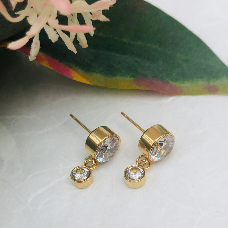 Gold Plated Stainless Steel Cubic Zirconia Drop Earrings