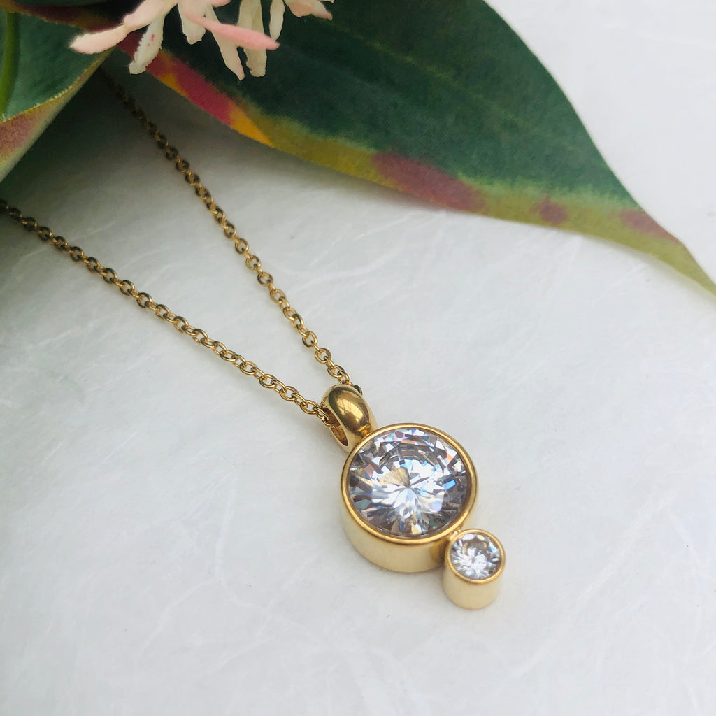 Gold Plated Stainless Steel Cubic Zirconia Pendant