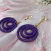 Purple Coil Drop Gold Plated Earrings with Cubic Zirconia Studs.