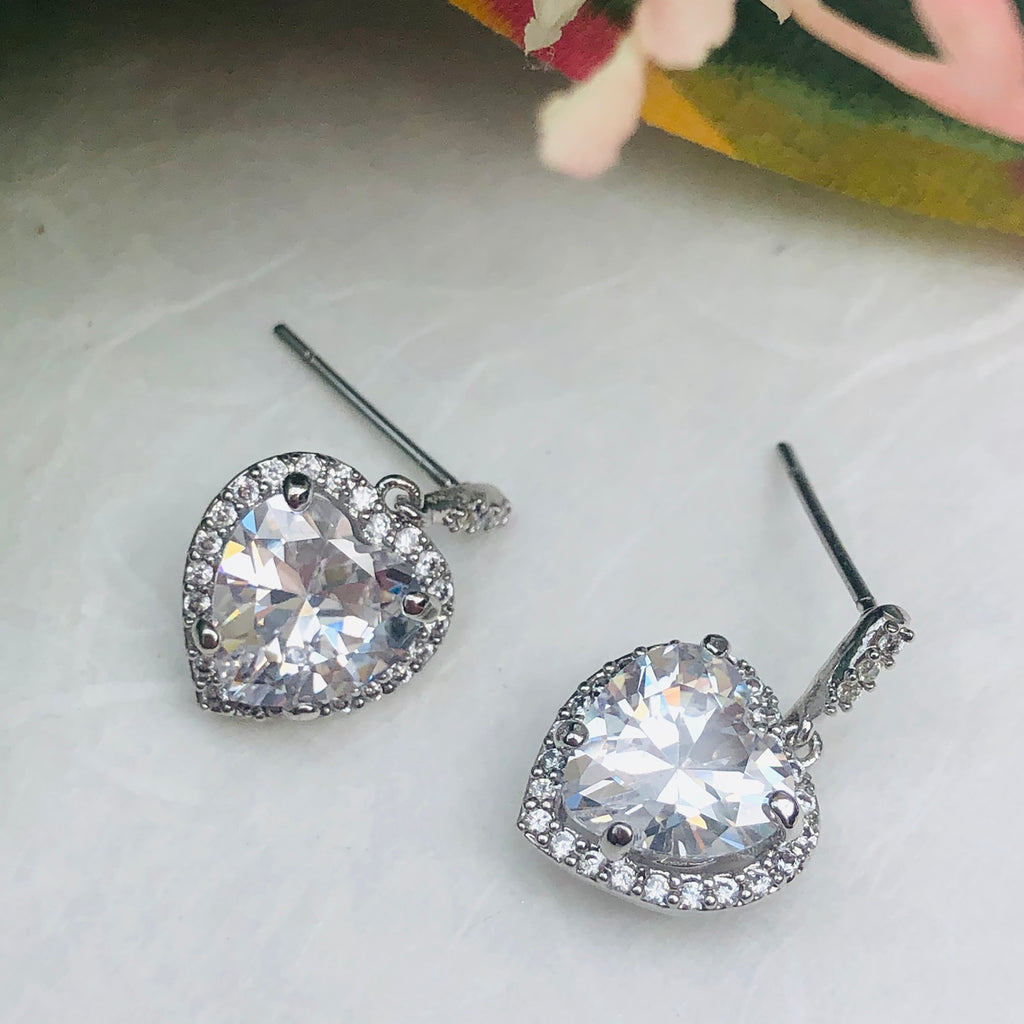 Cubic Zirconia Heart Shaped Drop Earrings