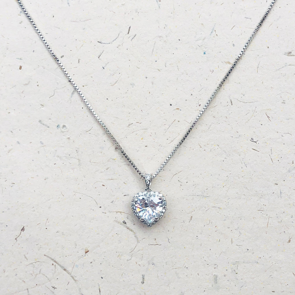 Cubic Zirconia Heart Shaped Pendant