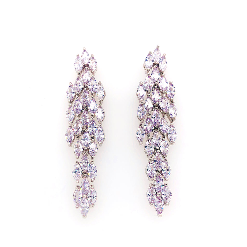 Platinum Plated Cubic Zirconia Drop Earrings.