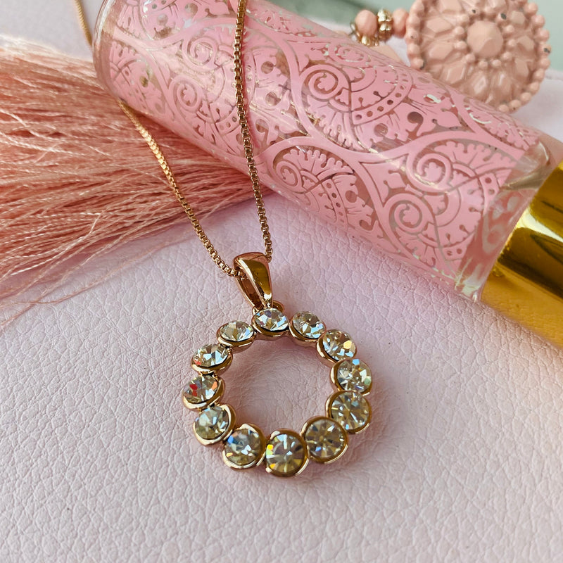 Rose Gold Plated Cubic Zirconia Pendant