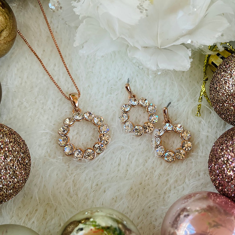 Rose Gold Plated Cubic Zirconia Pendant & Earrings Set
