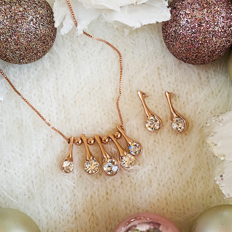 Rose Gold Cubic Zirconia Necklace & Earring Set