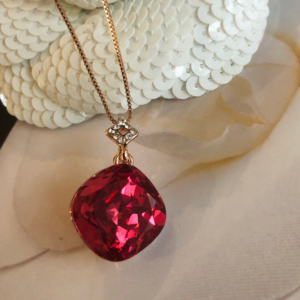 Rose Gold Fuchsia Crystal Pendant