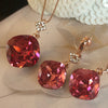 Rose Gold Fuchsia Crystal Earrings