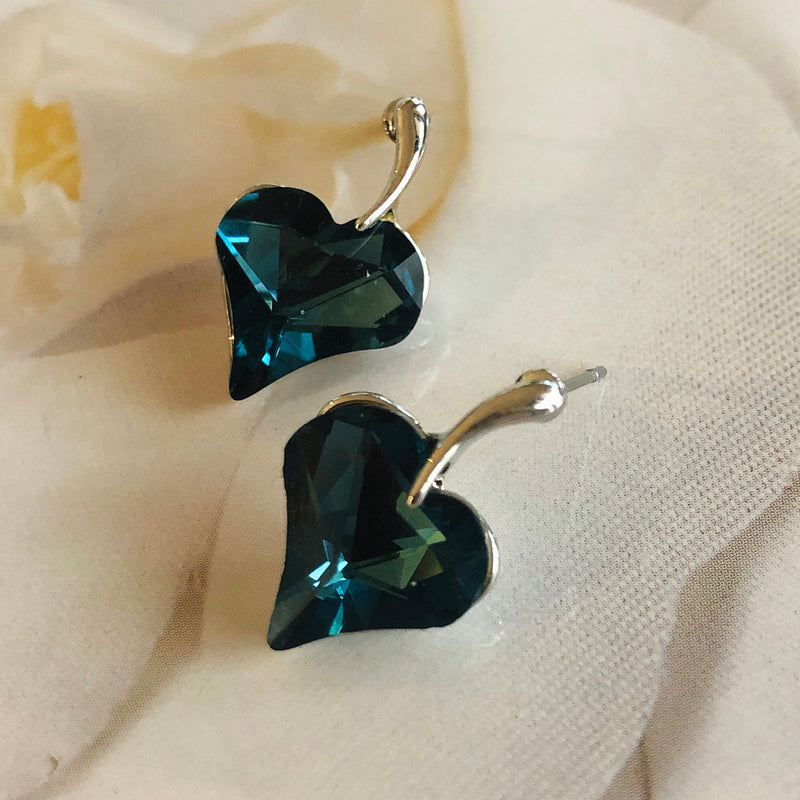 Dark Blue Crystal Earrings