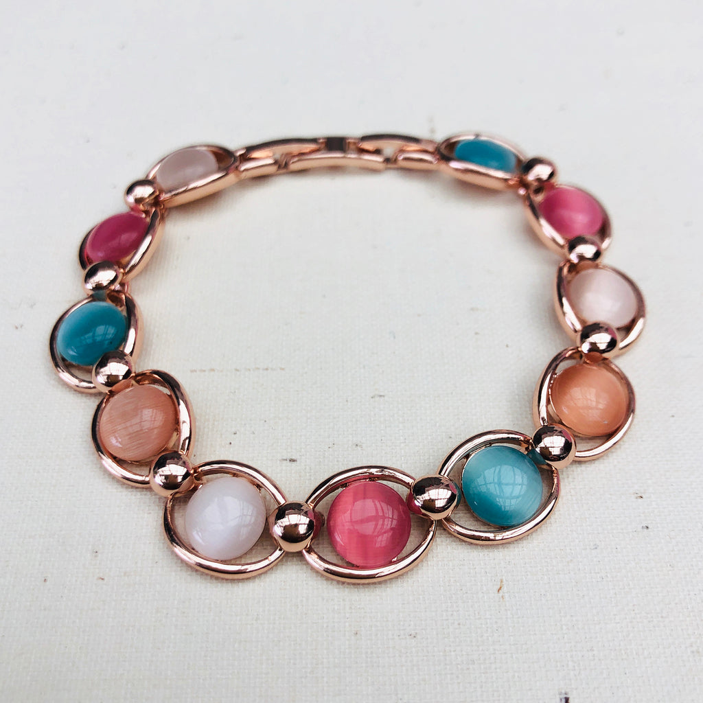Rose Gold Plated Coloured Stone Bracelet