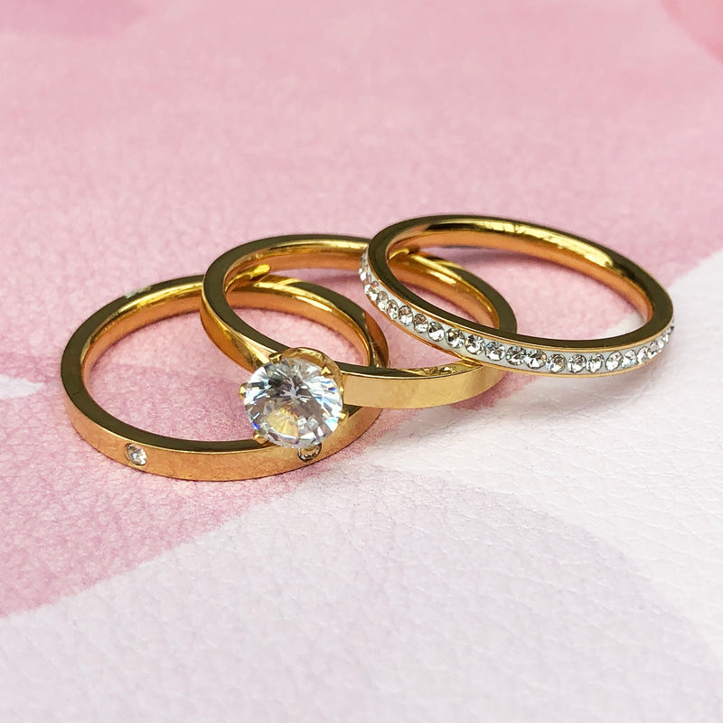 Stainless Steel & Gold Plated Diamantè Ring Trio