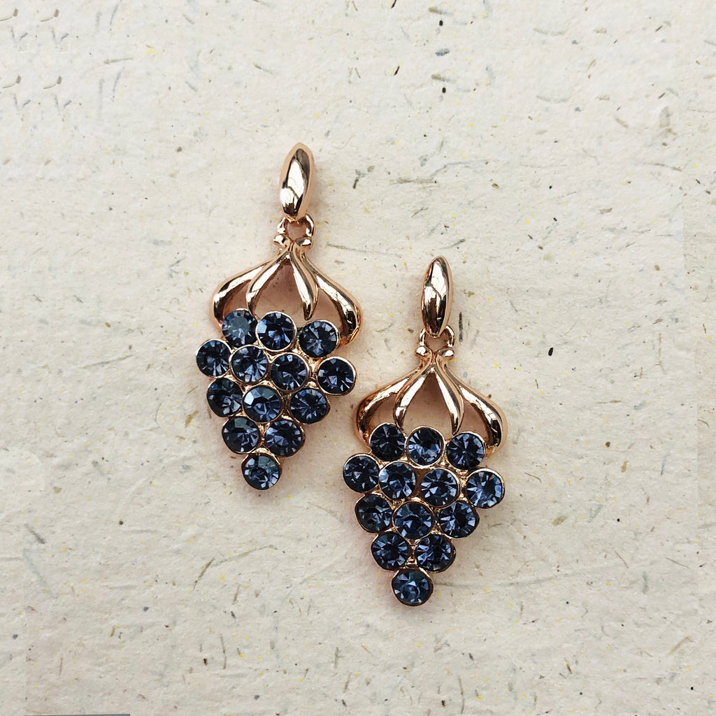Rose Gold & Purple Crystal Earrings