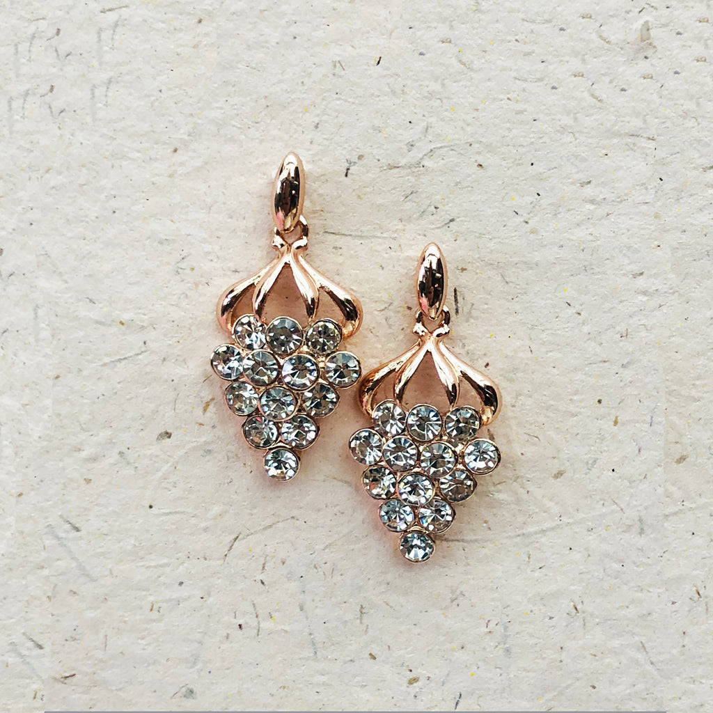 Rose Gold & Clear Crystal Earrings