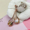 Rose Gold & Crystal Drop Earrings