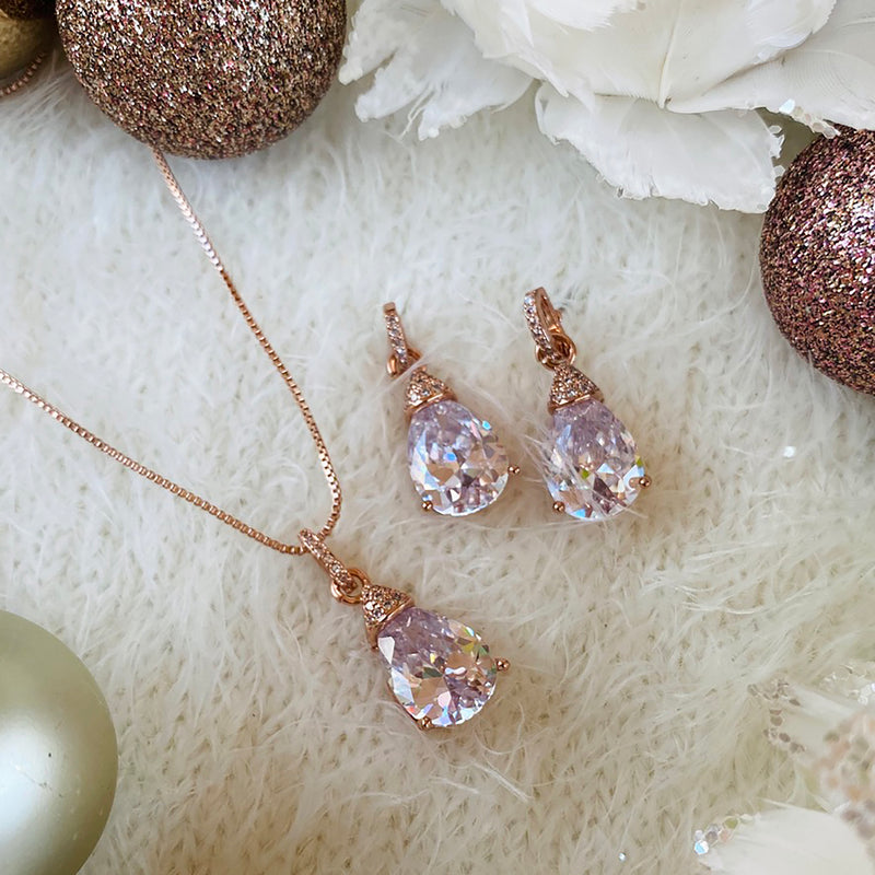 Rose Gold Cubic Zirconia Pendant & Earring Set