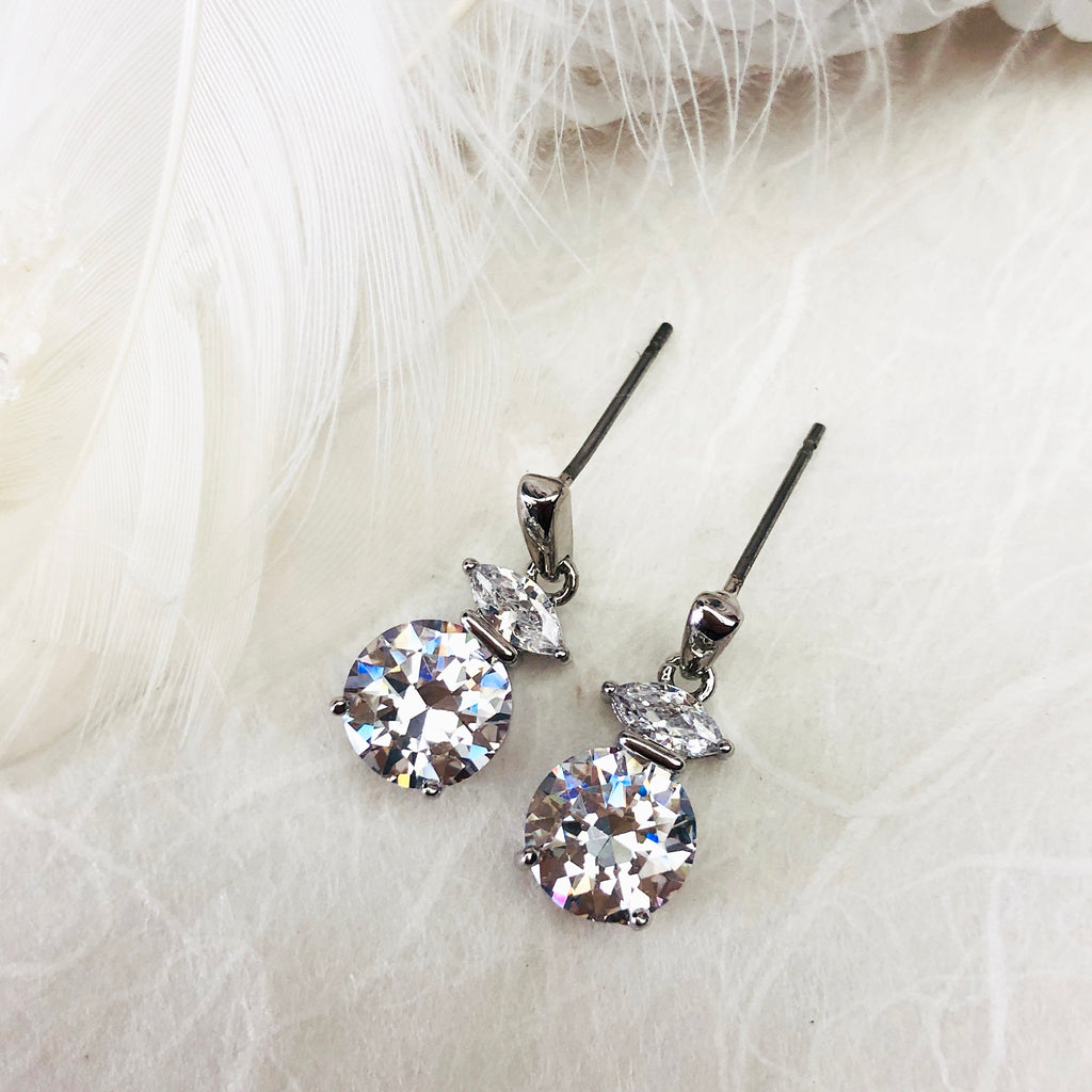 Platinum Plated Crystal Earrings