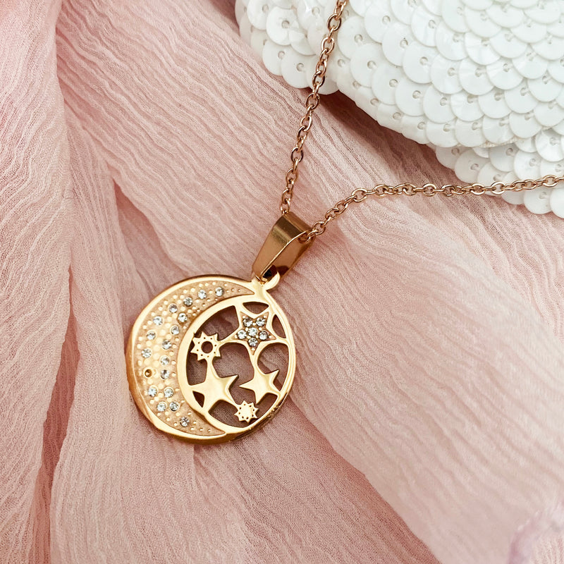 Rose Gold Plated Moon and Star Pendant
