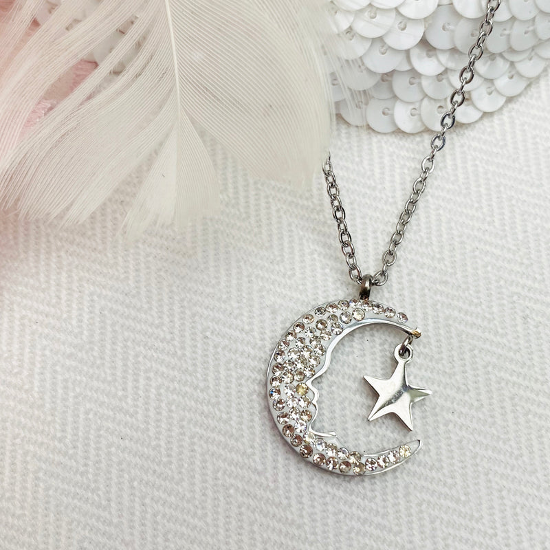Stainless Steel Moon and Star Pendant
