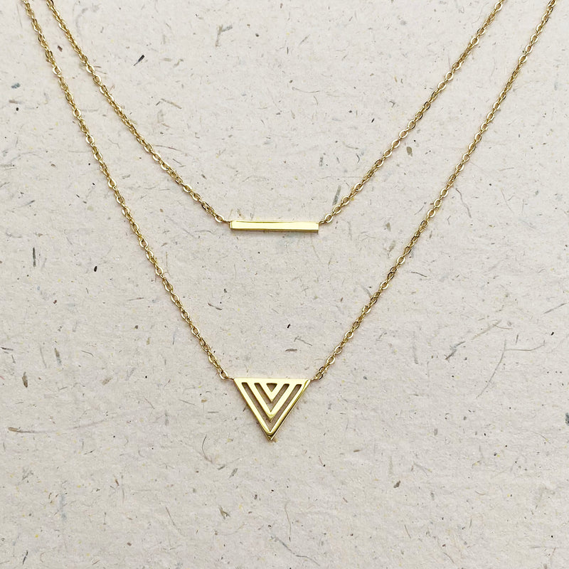 Gold Plated Layered Bar and Arrow Necklace