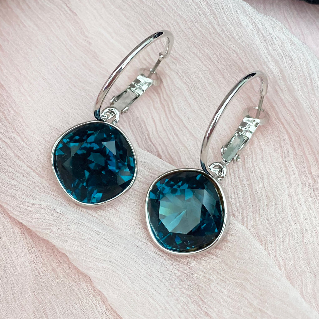 Platinum Plated Large Sapphire Crystal Earrings