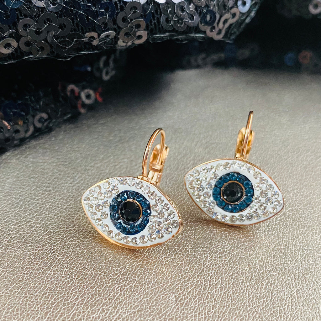Rose Gold Plated Crystal Evil Eye Earrings