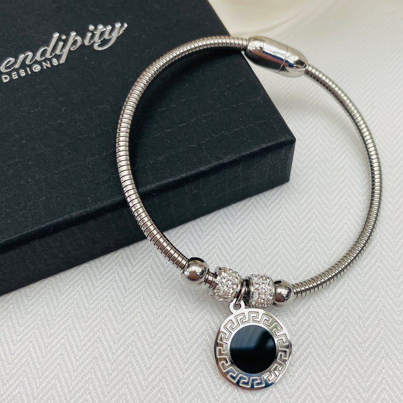 Stainless Steel Bracelet with Meandering Pattern Charm