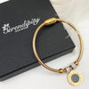 Gold Plated Bracelet with Meandering Pattern Charm