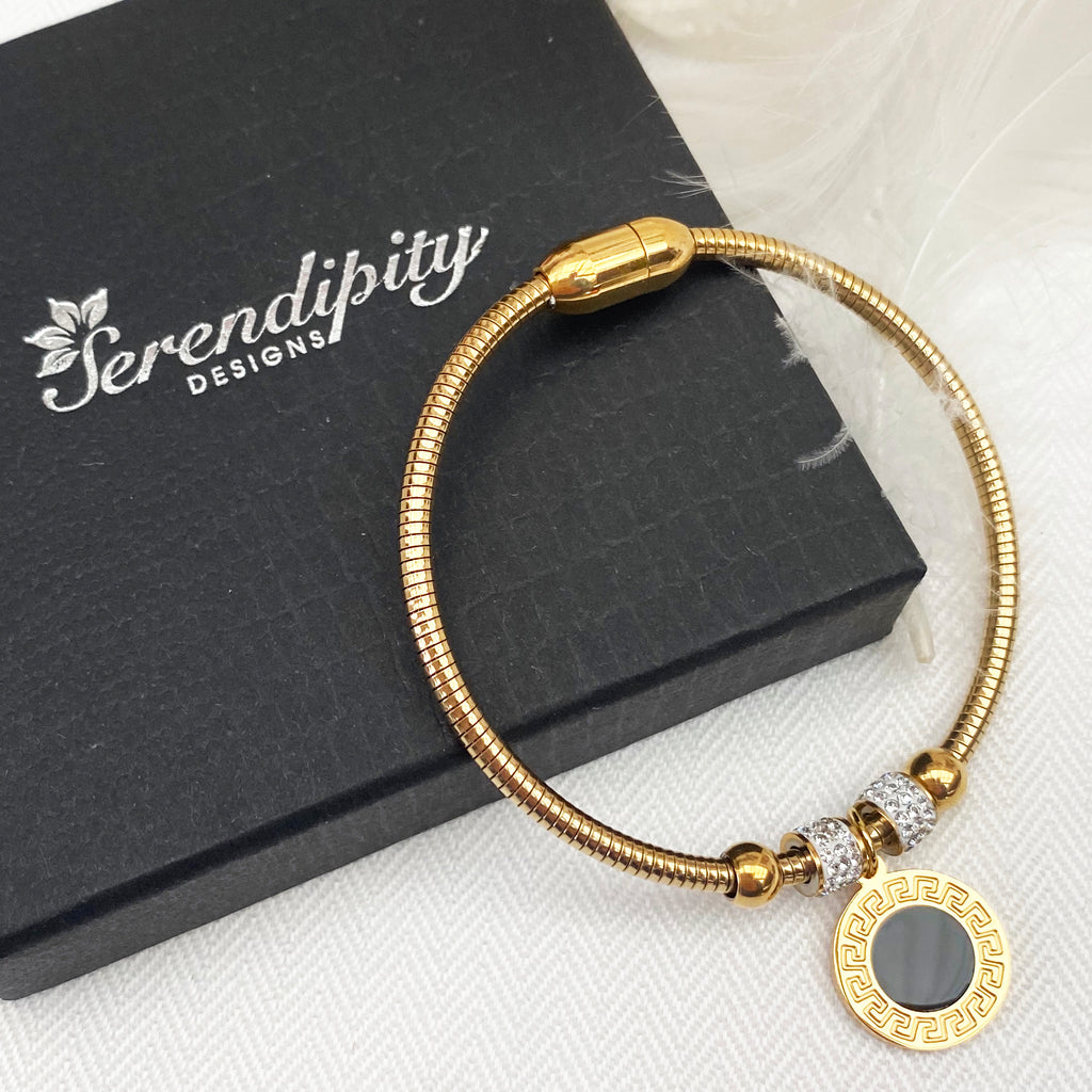 Gold Plated Bracelet with Roman Numeral Charm
