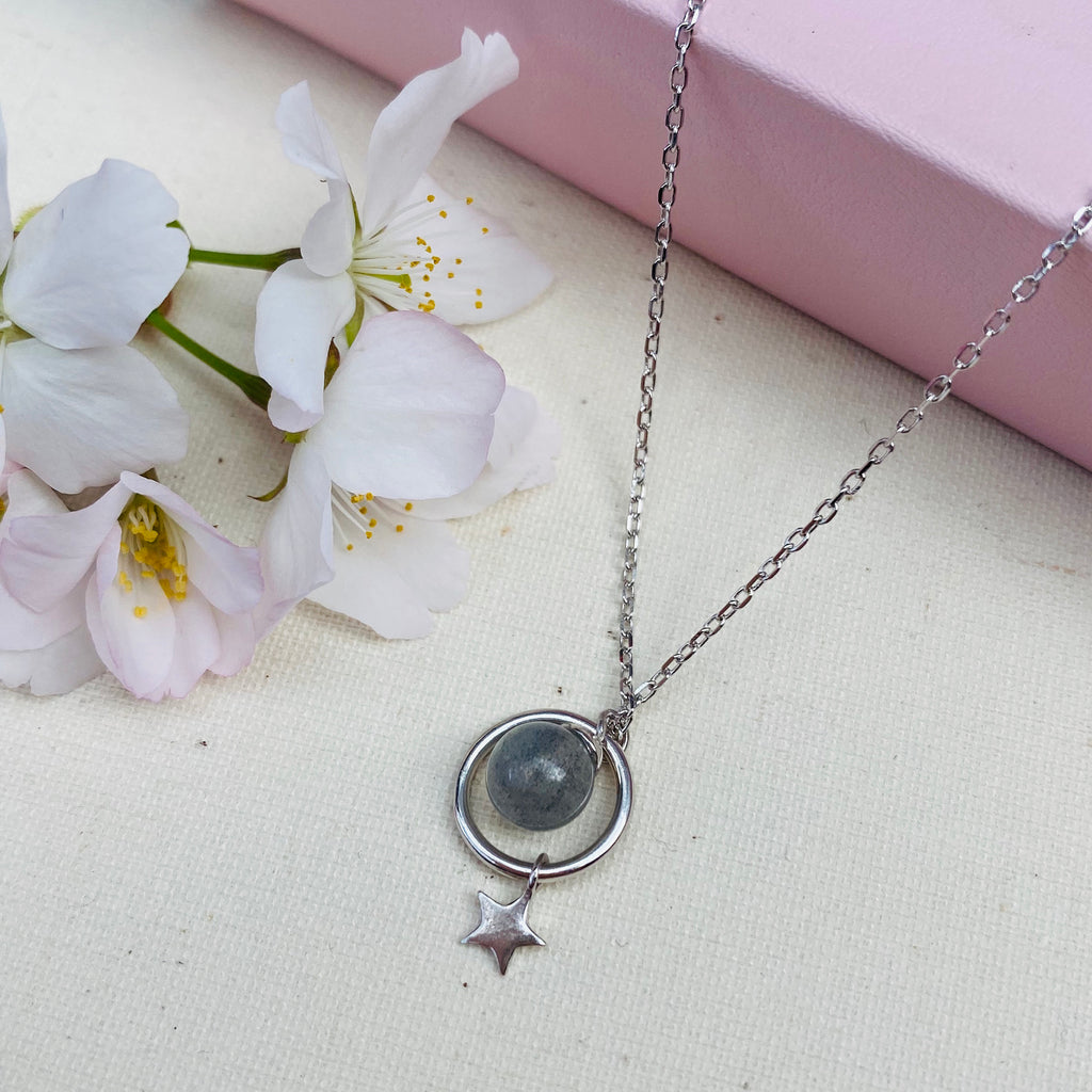 Sterling Silver Stone and Star Necklace