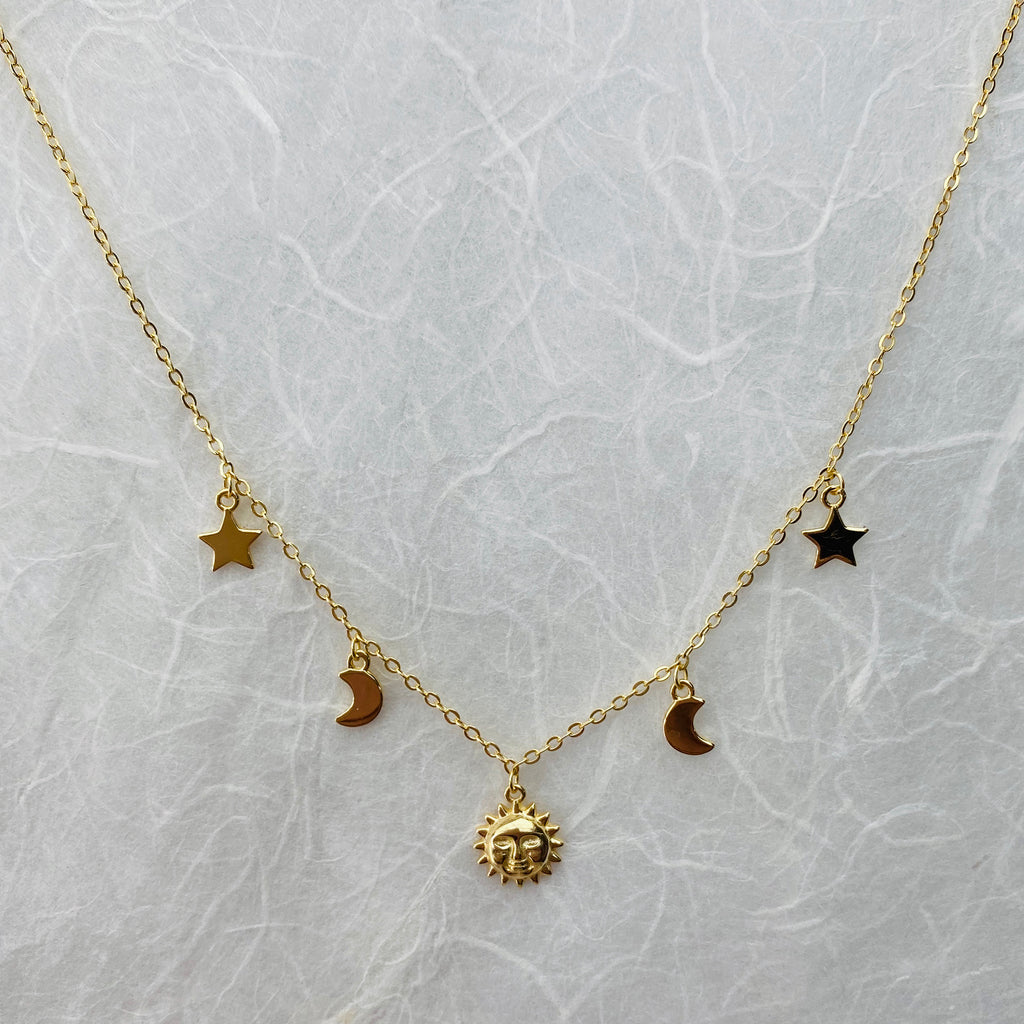 Sterling Silver Gold Plated Moon & Star Necklace