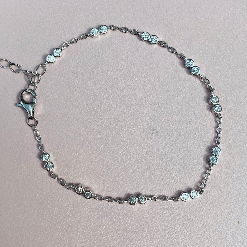Sterling Silver with Cubic Zirconia Stones Bracelet