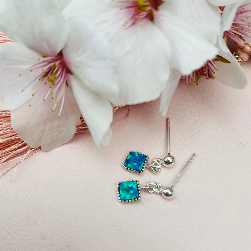 Sterling Silver Square Aqua Earrings