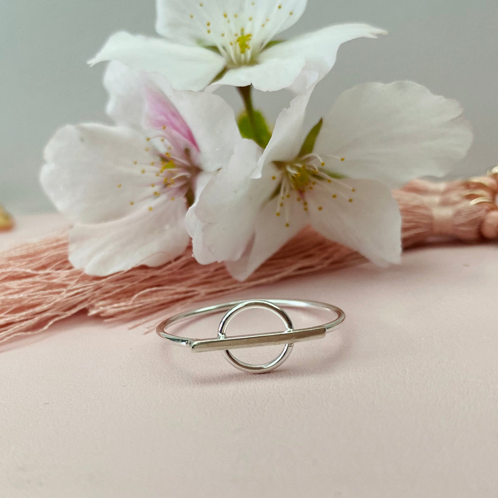 Sterling Silver Circle and Bar Ring